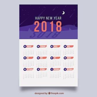 2018 calendar with night landscape