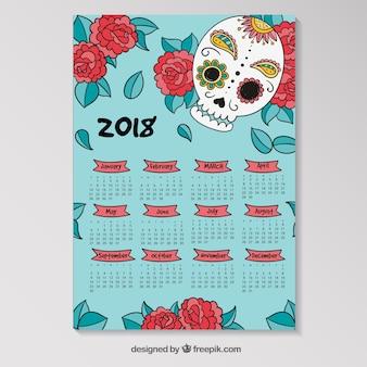 2018 calendar with skull