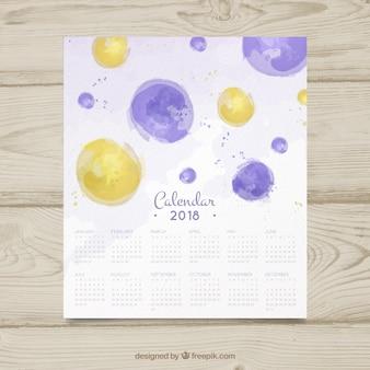 Календарь 2018 с кружками с акварелью