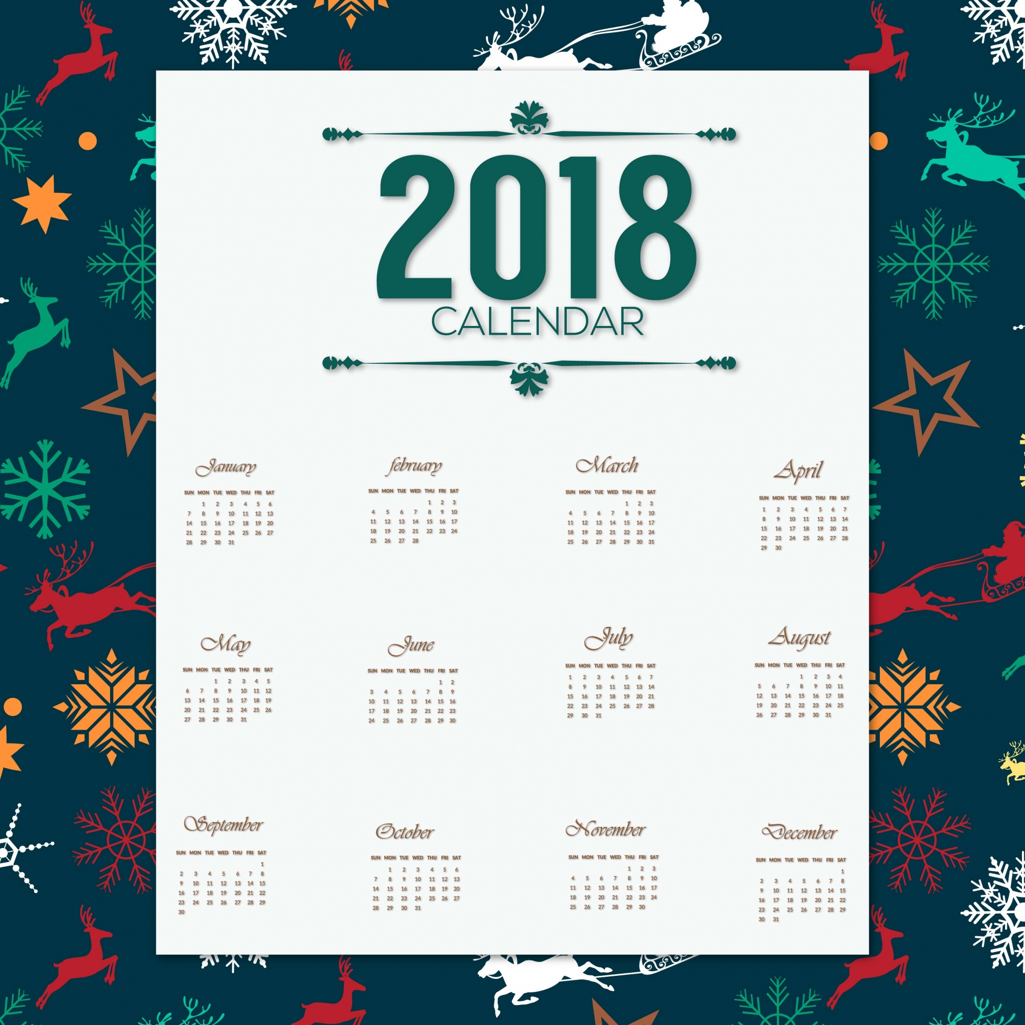 2018 calender desgin with chrismas pattern