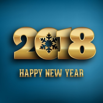 2018 - calligraphic new year greeting design - gold typography on a blue background