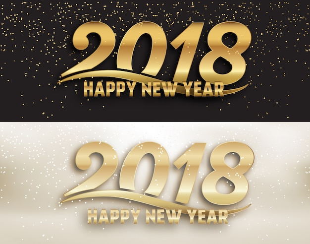2018 - calligraphic new year social media page cover design set - gold typography with gold glitter
