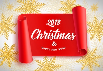 2018 Christmas lettering on red scroll