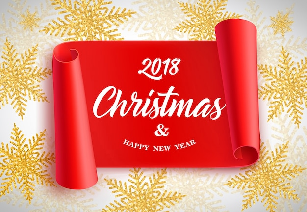 2018 новогодняя буквица на красный свиток