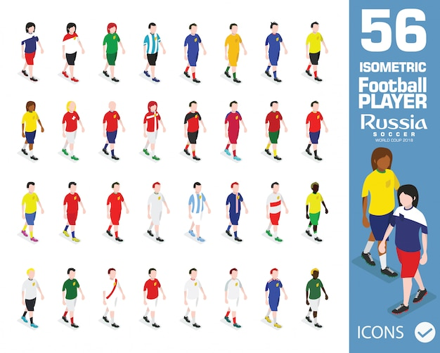 2018 fifa world cup russia isometric football players