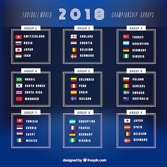 2018 football cup design with groups