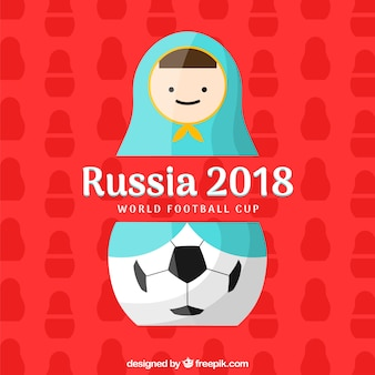 2018 football cup design with matryoshka