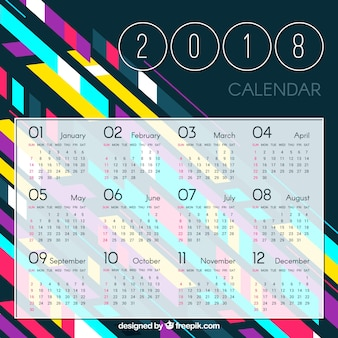 2018 геометрический красочный календарь