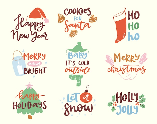 2018 happy new year text logo badge lettering holiday calendar print  merry christmas newborn party illustration