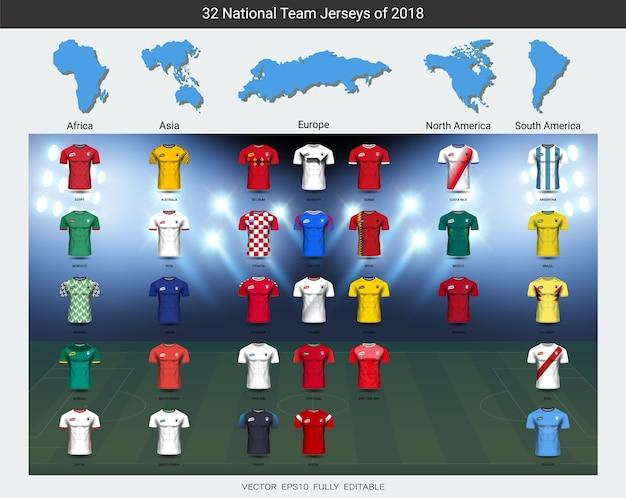 2018 national team soccer jersey uniforms group set