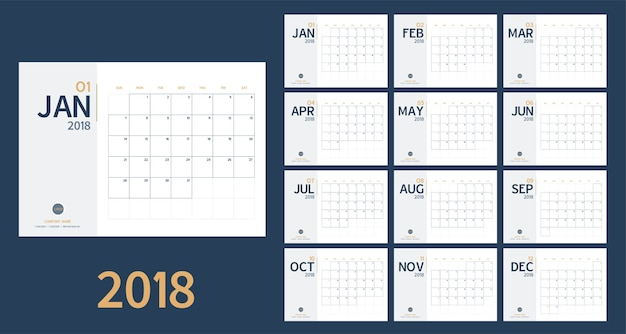 2018 new year calendar in clean minimal table simple style and blue and yellow color