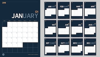 2018 new year calendar set in clean minimal table simple style and navy blue color