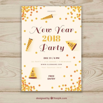 2018 new year party poster with confetti