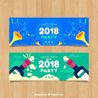 2018 party banners with trumpets and champagne