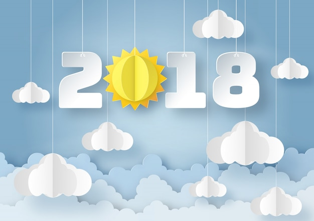 2018 with sun and cloud on blue sky background