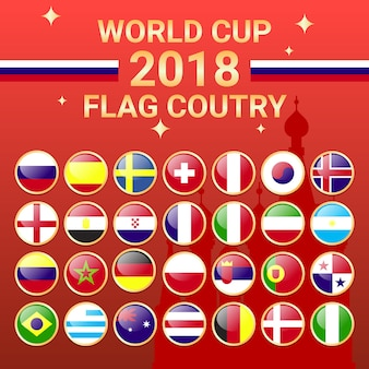 2018 World Cup Team Country Flag Russia