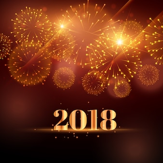 2018年の幸せな新年の花火の背景