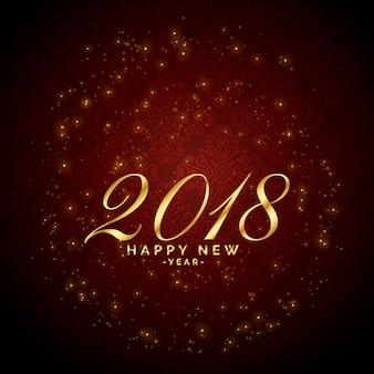 2018年の幸せな新年のお祝いのための光沢のある輝きの赤い背景