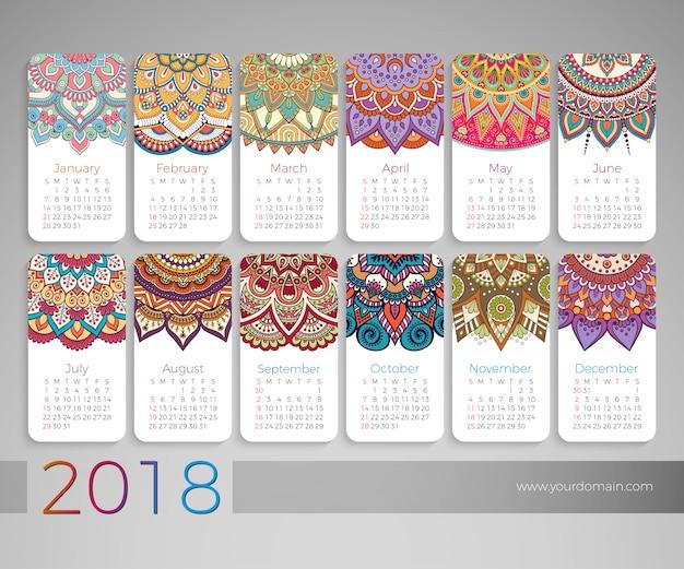 Календарь 2018. винтажные декоративные элементы. восточный узор, векторные иллюстрации.