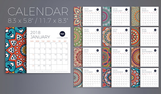 カレンダー2018。ヴィンテージ装飾要素。東洋のパターン、ベクトルイラスト。