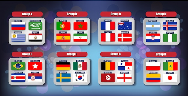 Футбольная доска чемпионата мира по футболу 2018 по группам
