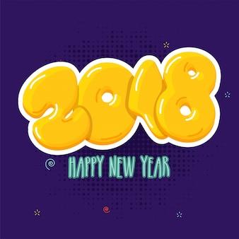 Глянцевый желтый текст 2018 на фиолетовом фоне