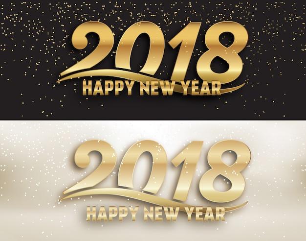 2018年 - 書道新年ソーシャルメディアページカバーデザインセット - 金色のタイポグラフィーと金色の光沢