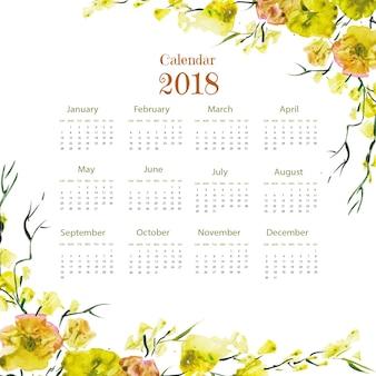 水彩色の花の羽のカラフルな2018カレンダー