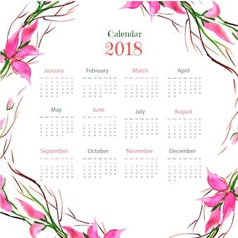 水彩色の花カラフルな2018カレンダー