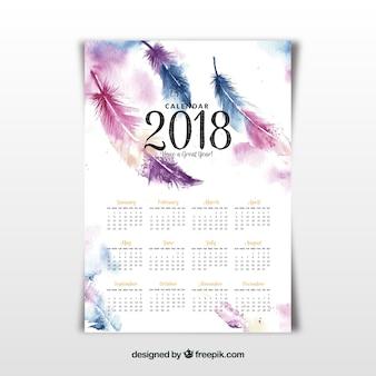 2018カレンダーに水彩羽根