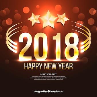 2018年の星と新年の背景