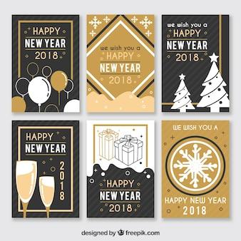 Пакет 2018 новогодних открыток в винтажном стиле
