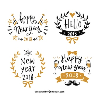 新年の幸せな2018年の手描きのバッジ