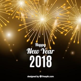 С новым годом 2018 фон с золотым фейерверком