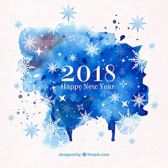 青い水彩で2018年の幸せな新年の背景