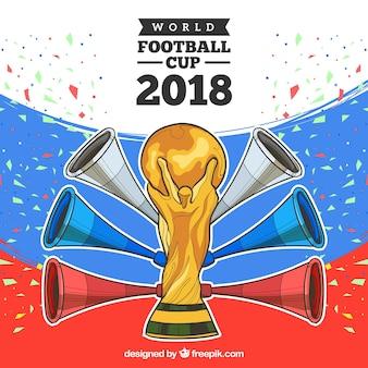 トロフィーと2018年サッカーカップデザイン