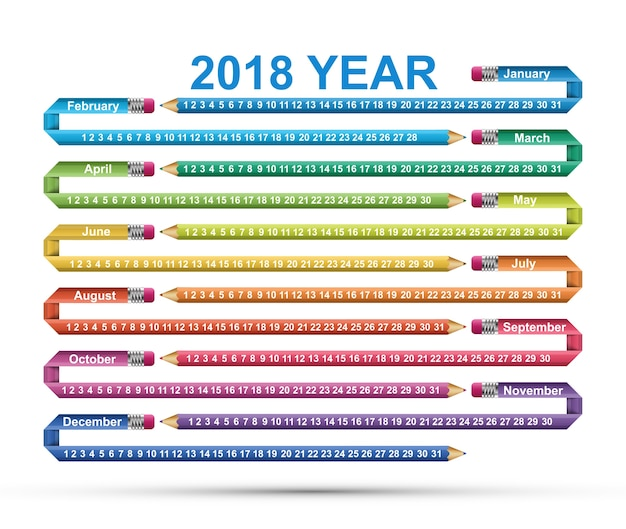 シンプルなカレンダー2018年。