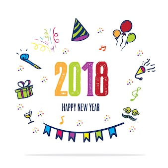 2018年の幸せな年賀状パーティーのカラフルなアイコン