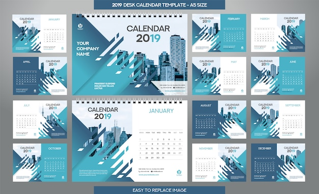 デスクカレンダー2019テンプレート -  12ヶ月付属
