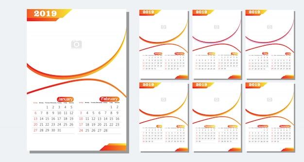 デスクカレンダー2019テンプレート -  12ヶ月含ま - アートモダングラデーションテーマ