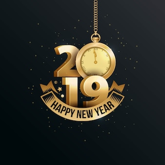 С новым годом 2019 года с золотым номером 3d