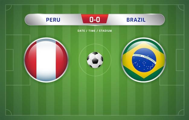 ペルー対ブラジルのスコアボード放送サッカー南アメリカの大会2019、グループa