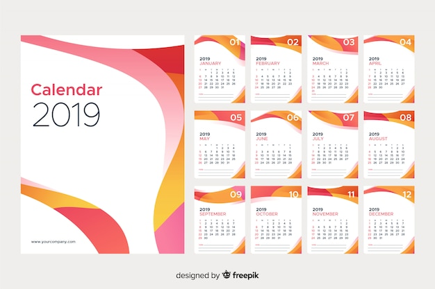 2019 calendario astratto