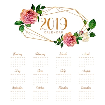 2019 annual calendar with watercolor floral