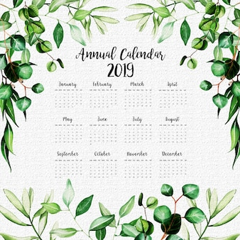 2019 Annual Calendar With Watercolor Leaves
