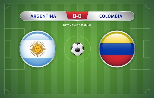 アルゼンチン対コロンビアスコアボード放送サッカー南アメリカのトーナメント2019、グループb