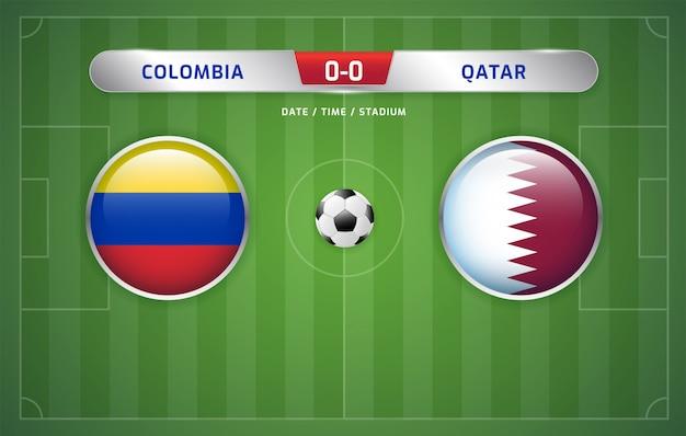 コロンビア対カタールスコアボード放送サッカー南アメリカのトーナメント2019、グループb