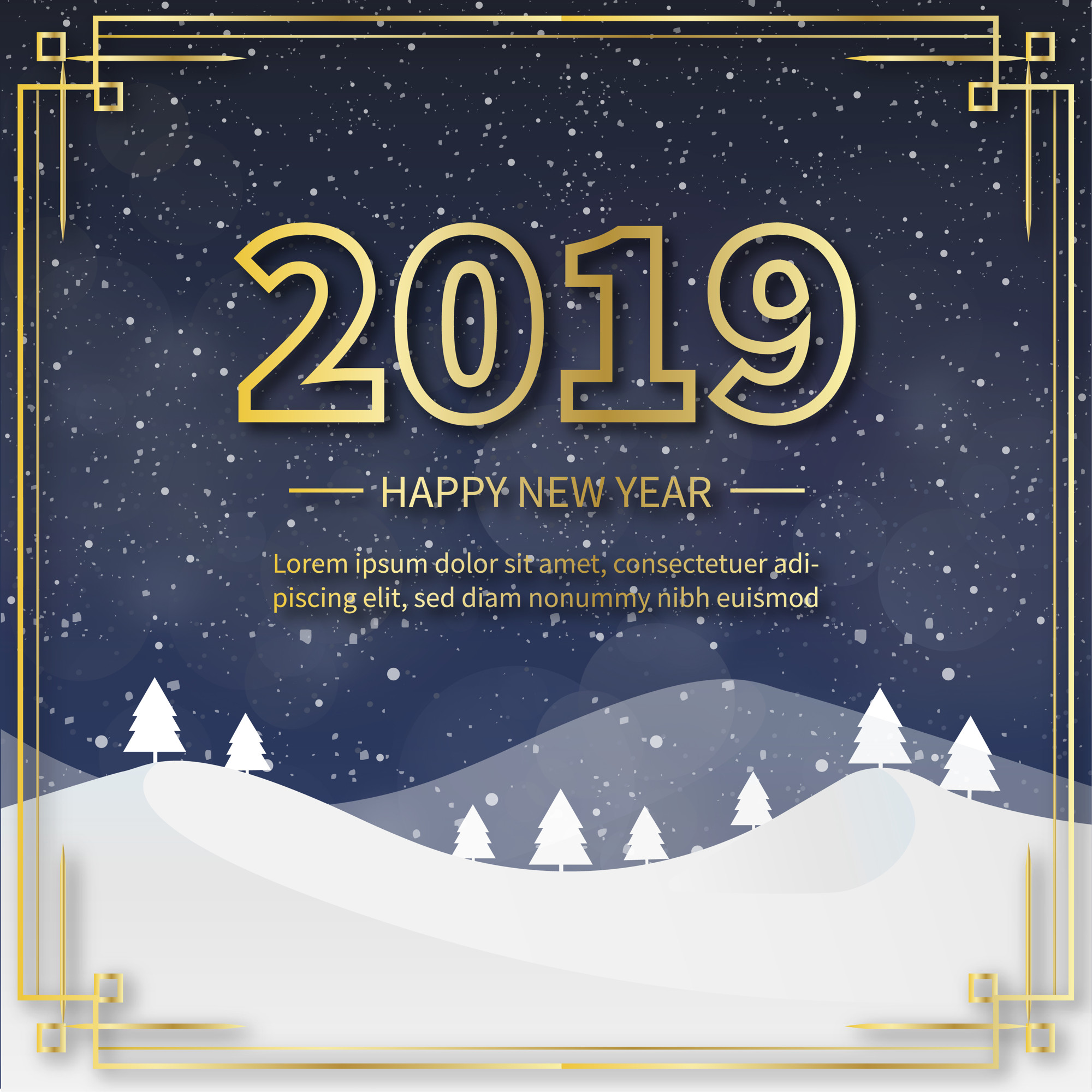 2019 Background with Snowy Landscape