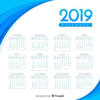 2019青いカレンダー