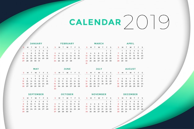 Calendario Business.2019 Business Calendar Design Concept Vector Free Download